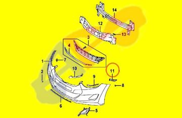 Picture of =HYEL08-11A1 ---> MOUNTING BRACKET 13-14 FT RH CPE/11-16 SDN ELANTRA