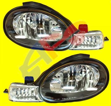 """Picture of HEAD LAMP 00-02 SET BLK """"TYC"""" NEON"""